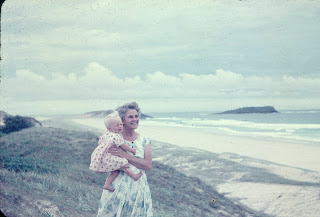 Top of the dunes at Fingal Beach (lighthouse in background), me with Grandma
