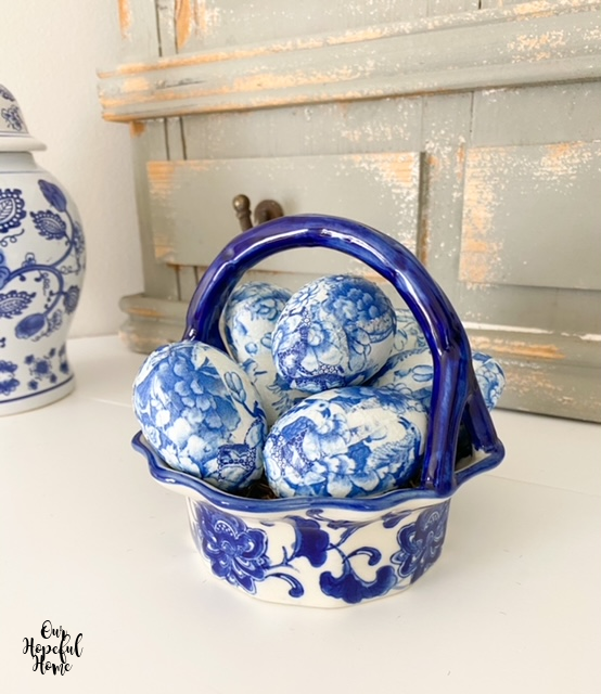 DIY chinoiserie egg mantel decor