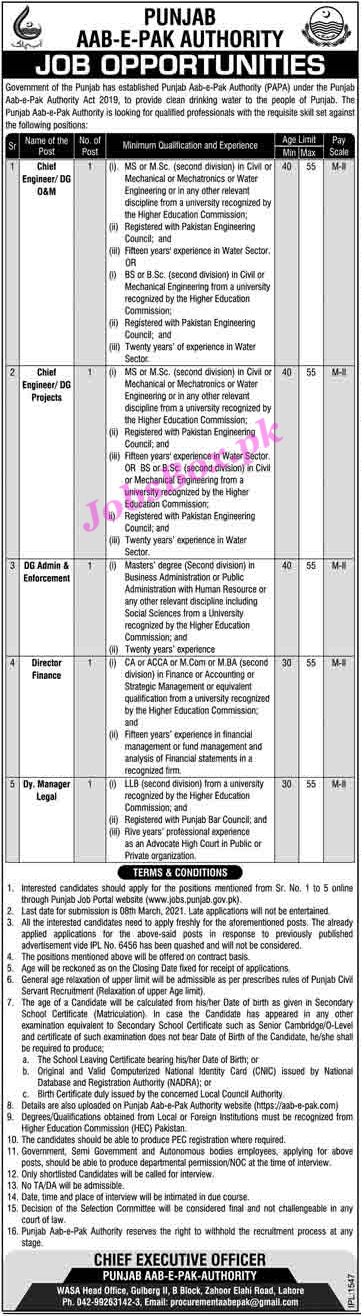 Punjab Aab-E-Pak Authority Jobs 2021