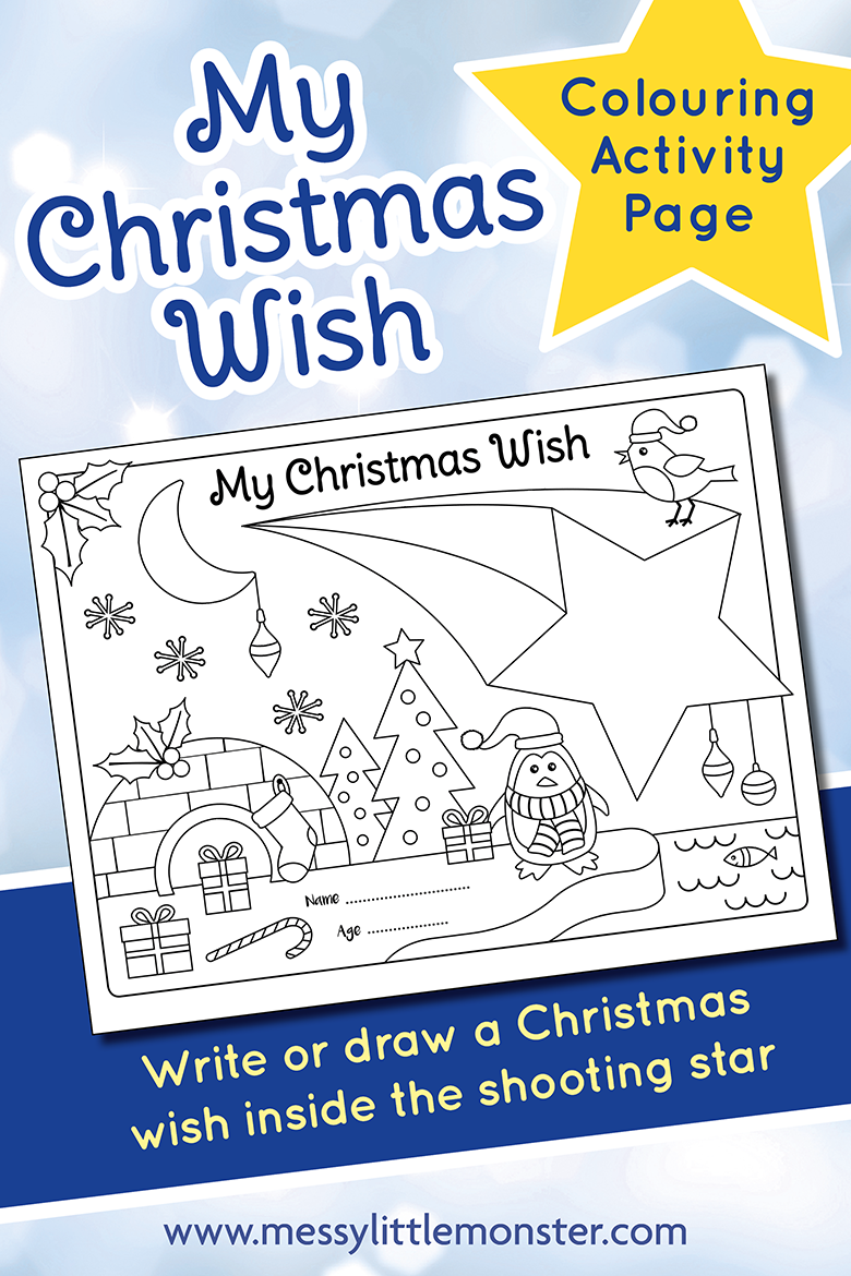 free printable Christmas activity page for kids - Christmas wish colouring activity.