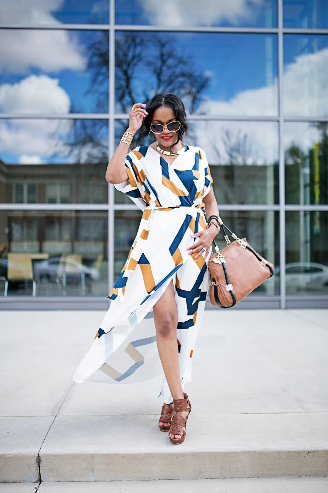 maxi dress- spring fashion- sheIn maxi dress- perfect maxi dress- how to dress up maxi dress- guess caged platform sandals, bauble bar- dallas fashion blogger- black girl fashion blogger- look for less- diane von furstenburg look for less-