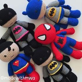 super heroes amigurumi tutorial   Projetos de crochê, Batman de ...   280x280