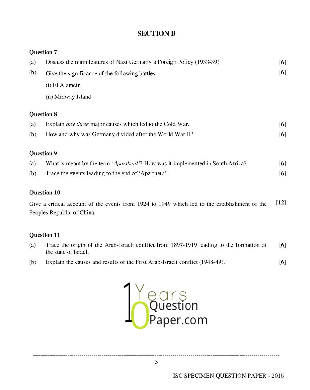 isc 2016 history specimen paper class 12 10 years question paper isc 2016 class 12th history specimen paper