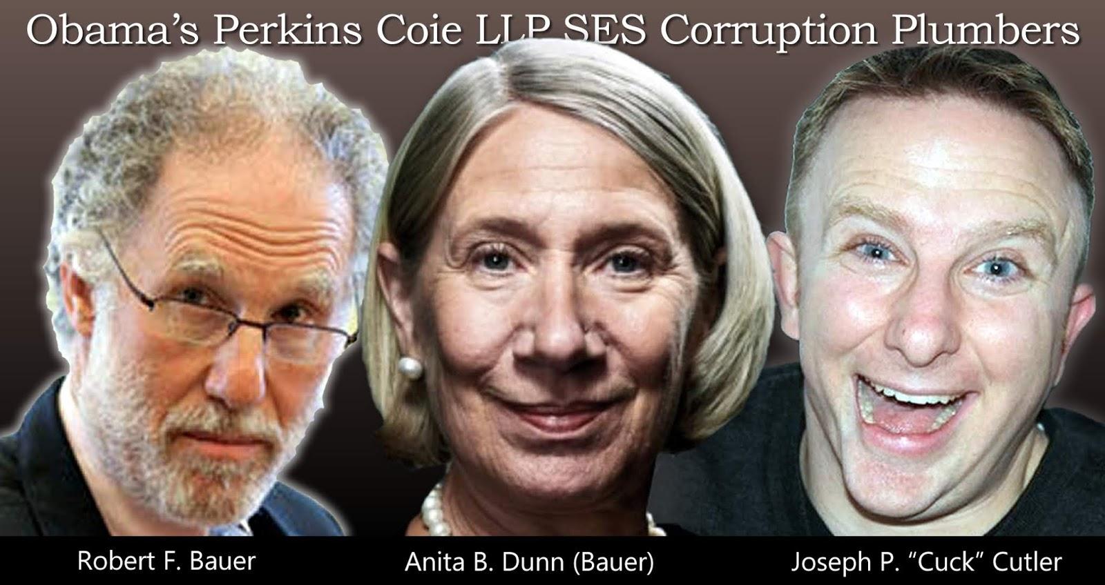 Obama's Perkins Coie LLP SES Hit Squad: Robert F. Bauer, Anita B. Dunn (Bauer), Joseph P. 'Cuck' Cutler