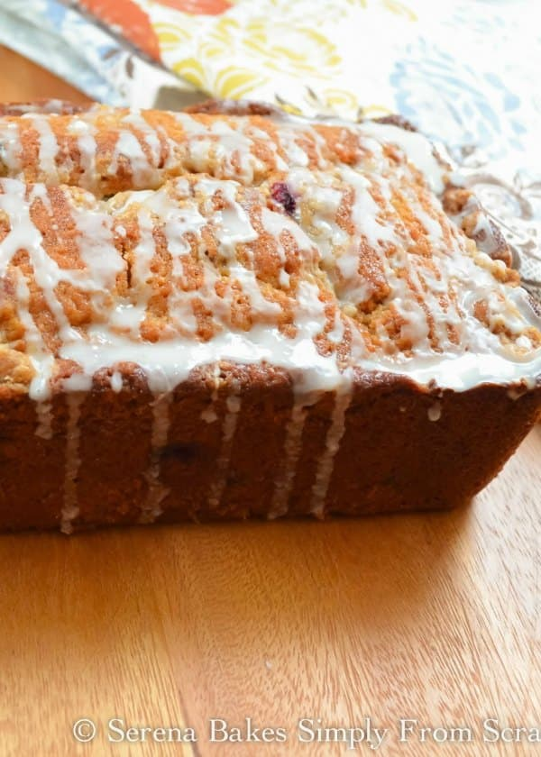 Drizzle Orange glaze over Orange Cranberry Bread from Serena Bakes Simply From Scratch.