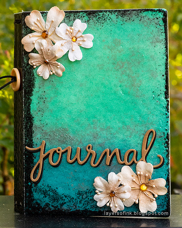 Layers of ink - Heat Embossed Notebook Journal by Anna-Karin. Made with Eileen Hull Notebook die and Clearsnap inks.