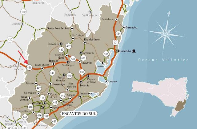 Mapa da Serra de Santa Catarina