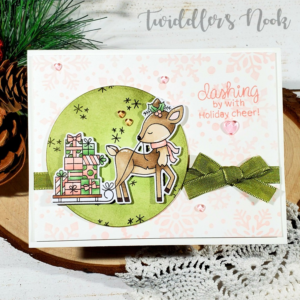 Festive Fawns Card by November Guest Designer Amanda Wilcox | Festive Fawns Stamp Set and Snowfall Stencil by Newton's Nook Designs #newtonsnook #handmade