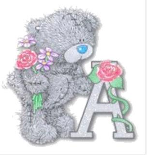 Abecedario de Tatty Teddy con Rosas. Tatty Teddy Abc with Roses.