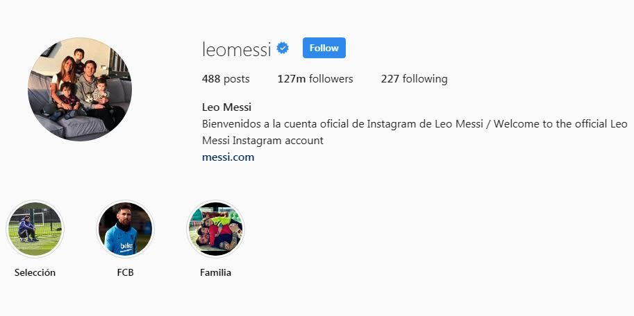 Leo Messi Instagram Followers