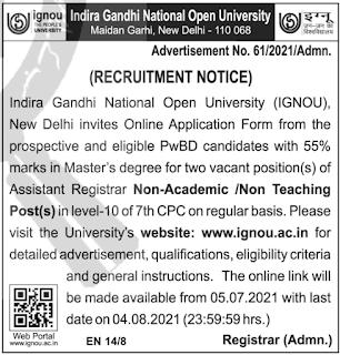 IGNOU Recruitment 2021