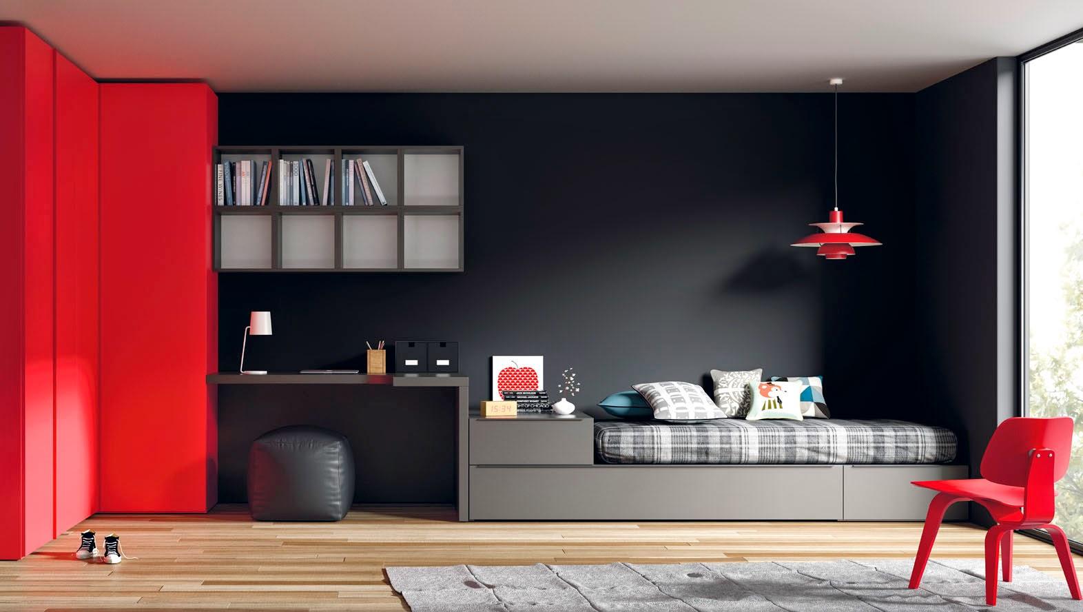 Habitacion juvenil gris y roja for Dormitorio para 4 ninos