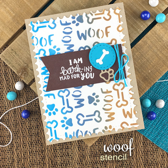 Dog Card by Jennifer Jackson | Say Woof Stamp Set, Woof Stencil, Pawprint Shaker Die Set, and Frarmework Die Set by Newton's Nook Designs #newtonsnook #handmade