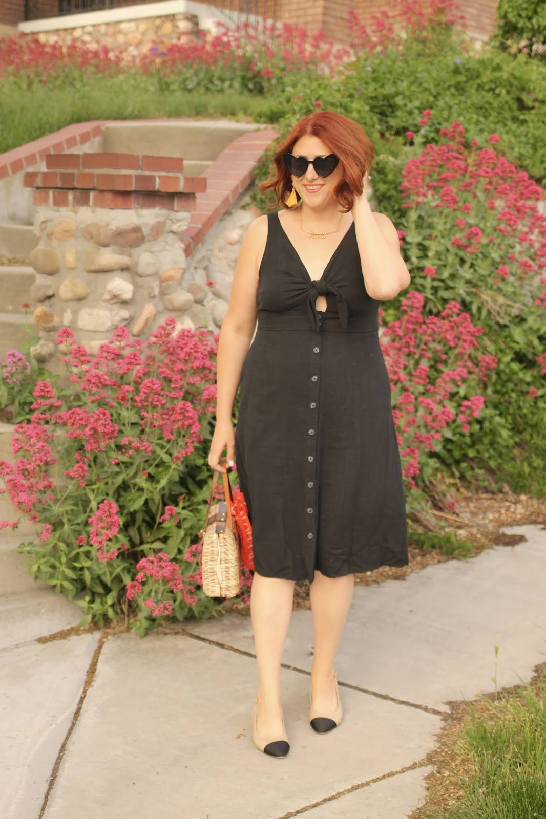 Chanel slingback dupes, summer dress, tie front detail, vintage straw bag, tassel earrings, red hair