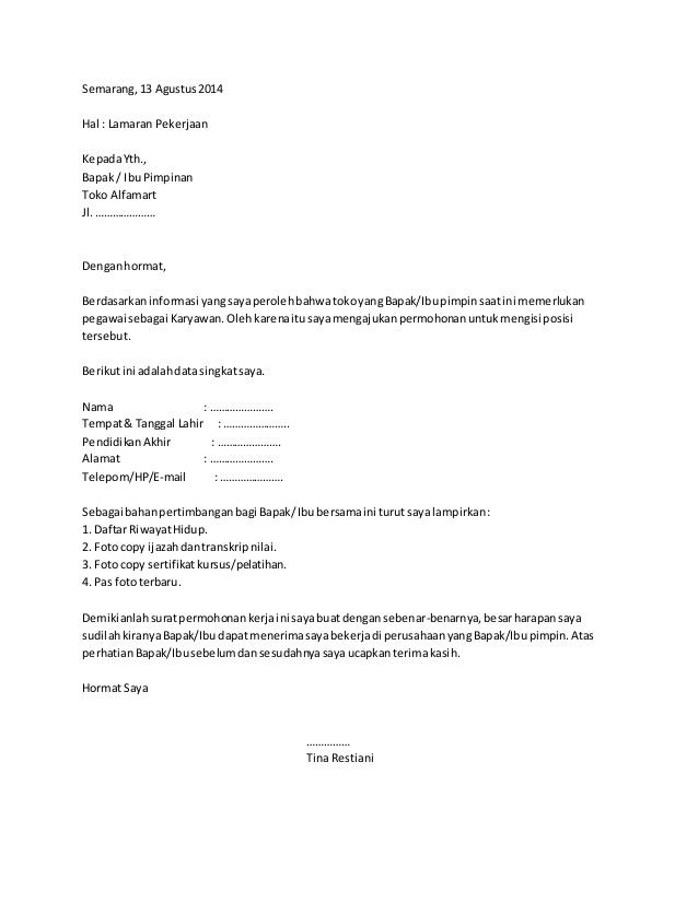 Contoh Surat Lamaran Kerja Di Konter