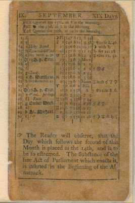 Climbing My Family Tree: Page for September, in a 1752 Almanac