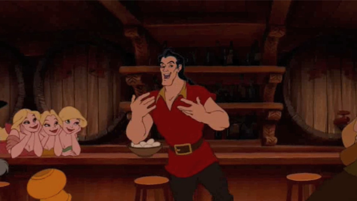 The blonde triplets fawn over Gaston
