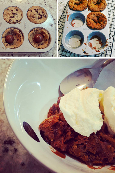 collage of three images: 1. cookie batter in a muffin tin with chocolate truffles in the middle of each cookie; 2. the ooey gooey result, still in the tin; 3. warm cookie in bowl with vanilla ice cream