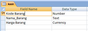 Tabel kasir di Microsoft Access