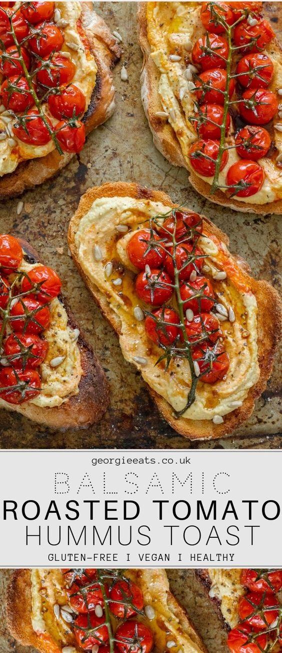 Balsamic Roasted Tomatoes & Hummus Toast