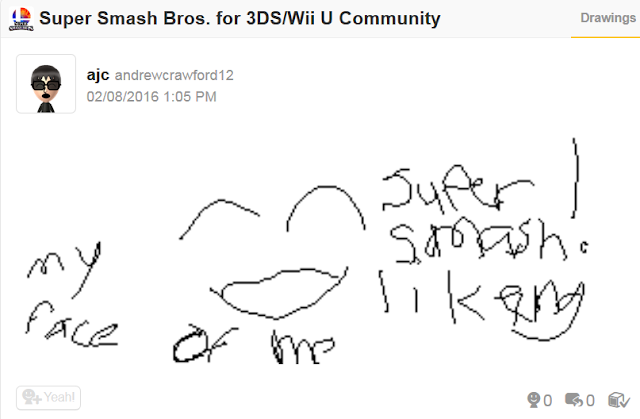 Miiverse drawing scribble andrew crawford Super Smash Bros. community pitiful face
