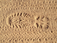 Dan's boot print on Lower Monroe Road returning from Summit 3397, Angeles National Forest
