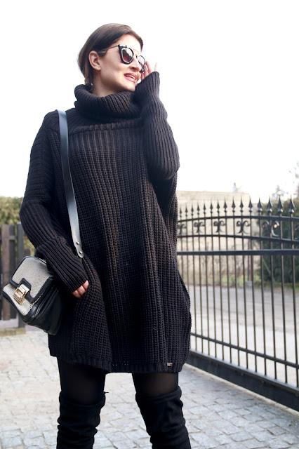 street style, winter fashion, winter style, total black, oversize, sweter oversize, buty za kolano
