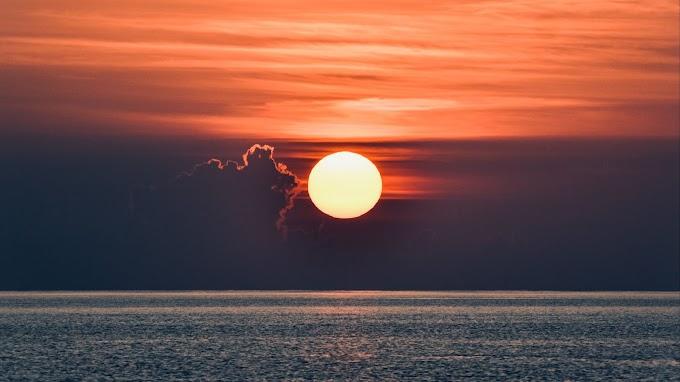 Sol, Pôr do Sol, Nuvens, Mar, Horizonte