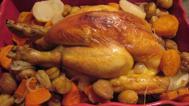 دجاج بالفرن مع الخضار