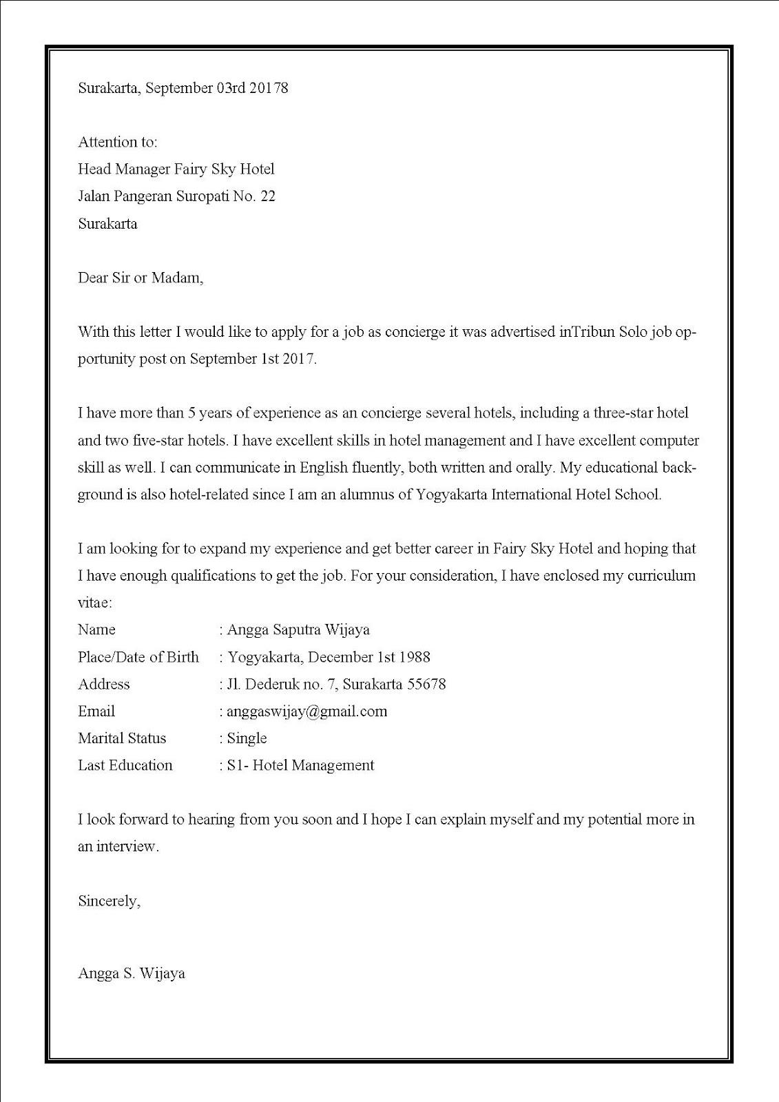 Contoh surat lamaran kerja di hotel untuk bagian concierge dalam bahasa iggris