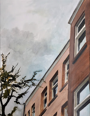 Towering buildings, cityscape in oil on paper 50x65cm by Philine van der Vegte