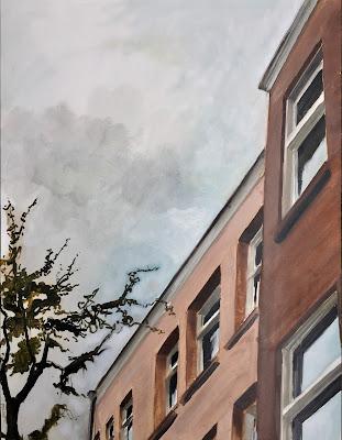 Towering buildings, cityscape in oil on paper 50x65cm by Philine van der Vegte