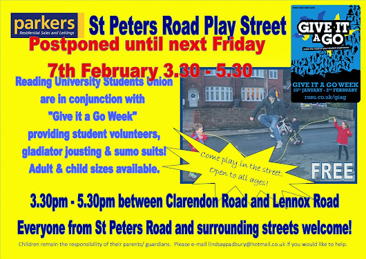 Play street postponed until next week friday 7th February 3.30 to 5.30pm