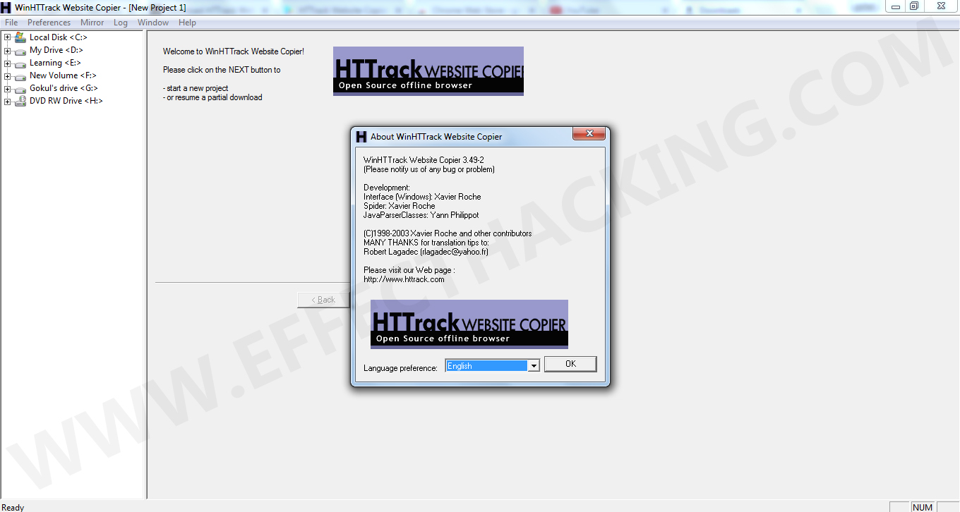 HTTrack Website Copier Snapshot 1
