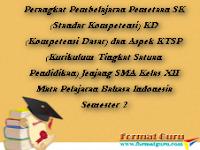 Perangkat Pembelajaran Pemetaan SK (Standar Kompetensi) KD (Kompetensi Dasar) dan Aspek KTSP (Kurikulum Tingkat Satuan Pendidikan) Jenjang SMA Kelas XII Mata Pelajaran Bahasa Indonesia Semester 2