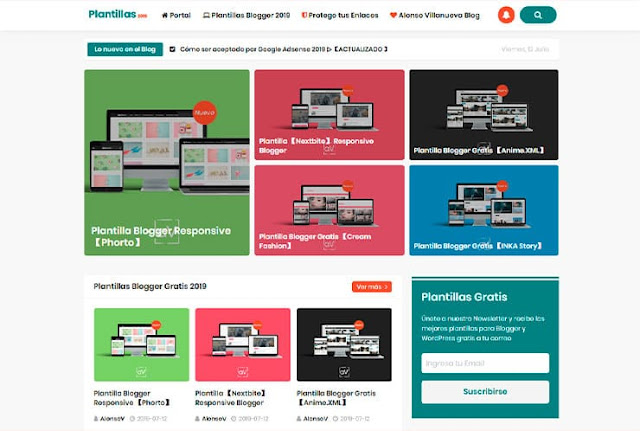 home de la web de descarga de Plantillas Blogger gratis