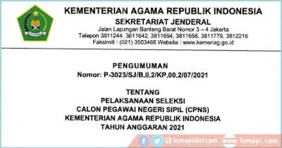 Rincian Formasi CPNS KEMENAG RI Tahun 2021