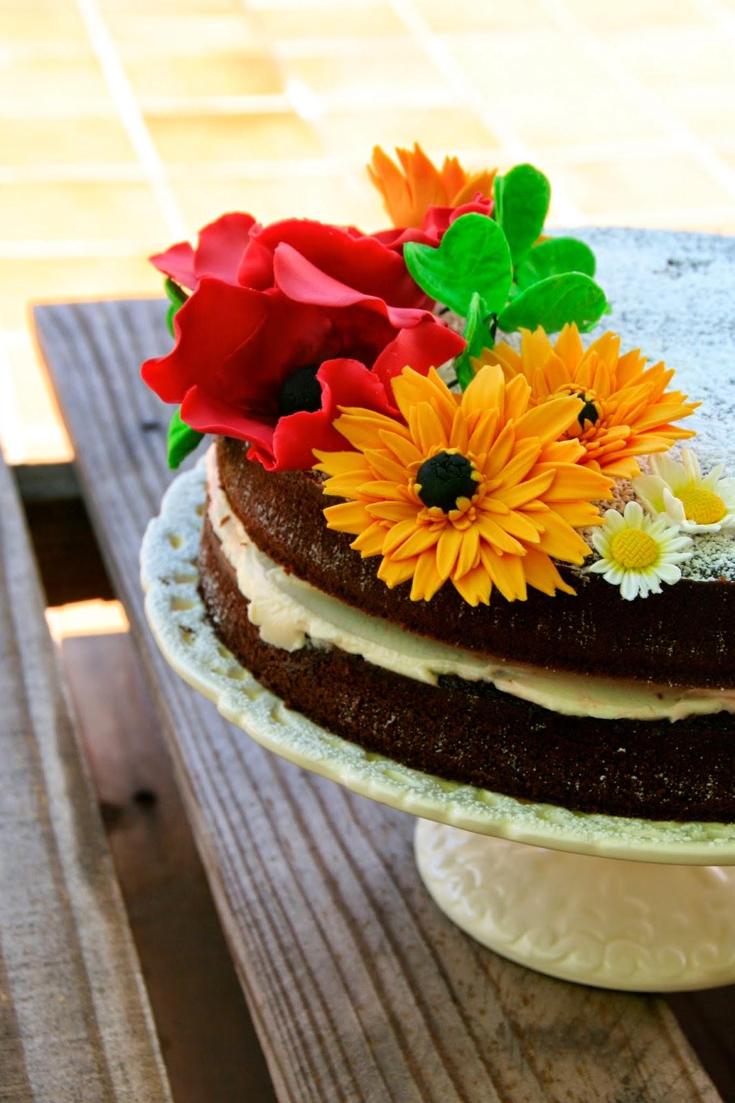 Tarta Naked Cake Decorada Con Violetas