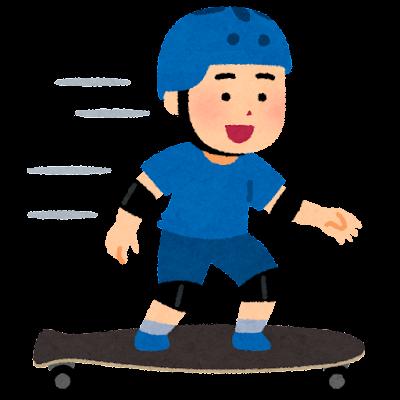 ロングボードに乗る人のイラスト(男性)