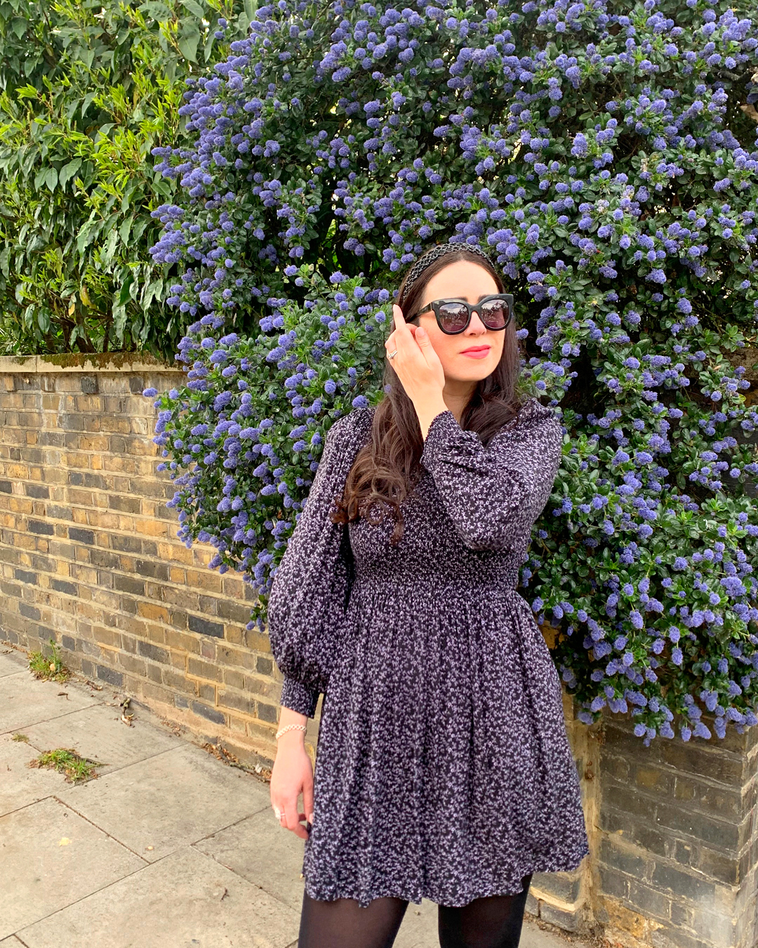 Ceanothus Camouflage - & Other Stories purple floral dress, Emma Louise Layla Berry - style blog