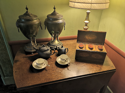 Urns and tea caddy in the dining room, A la Ronde