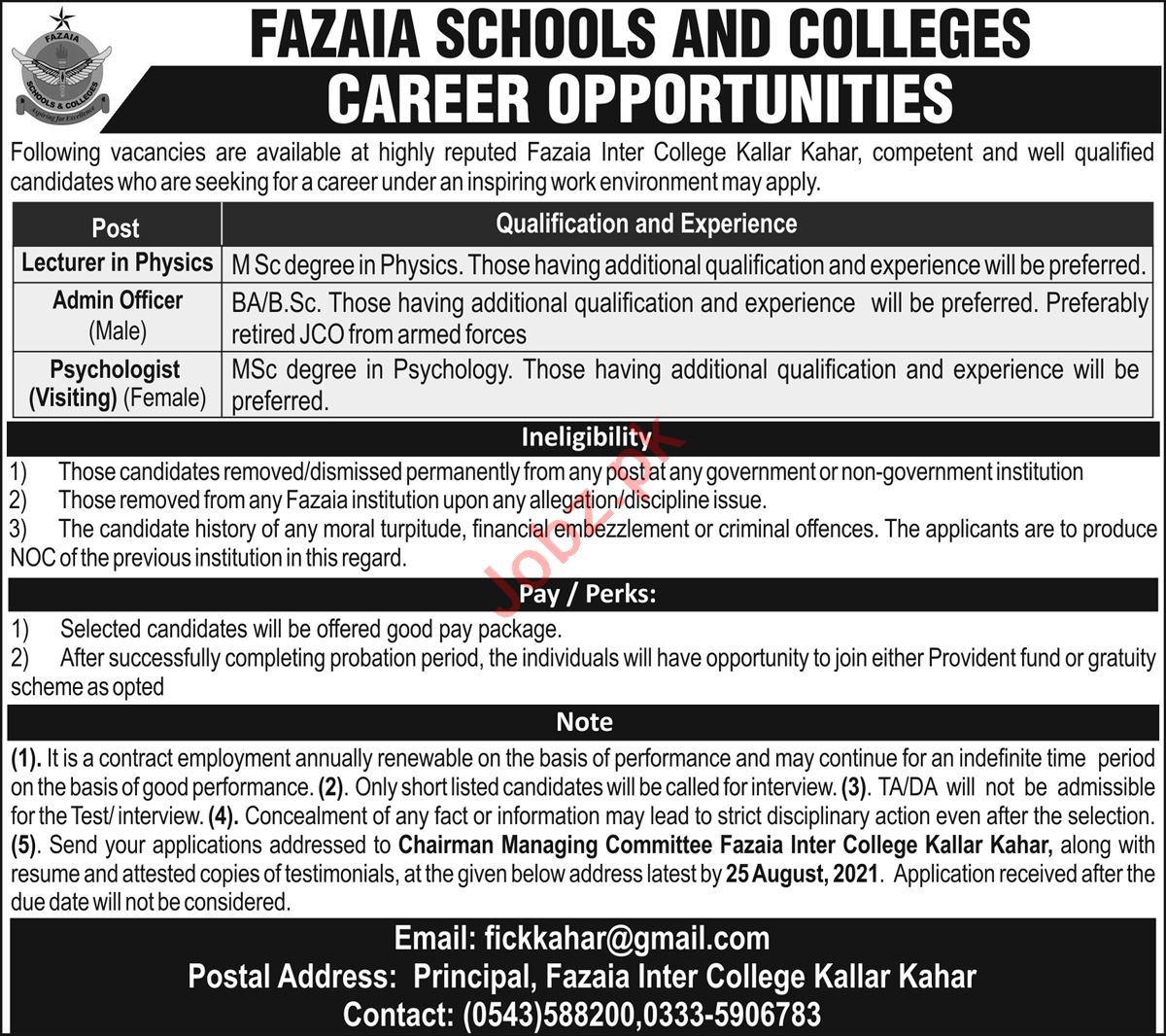 Fazaia Schools & Colleges Jobs, Pakistan Air Force PAF, Government of Pakistan