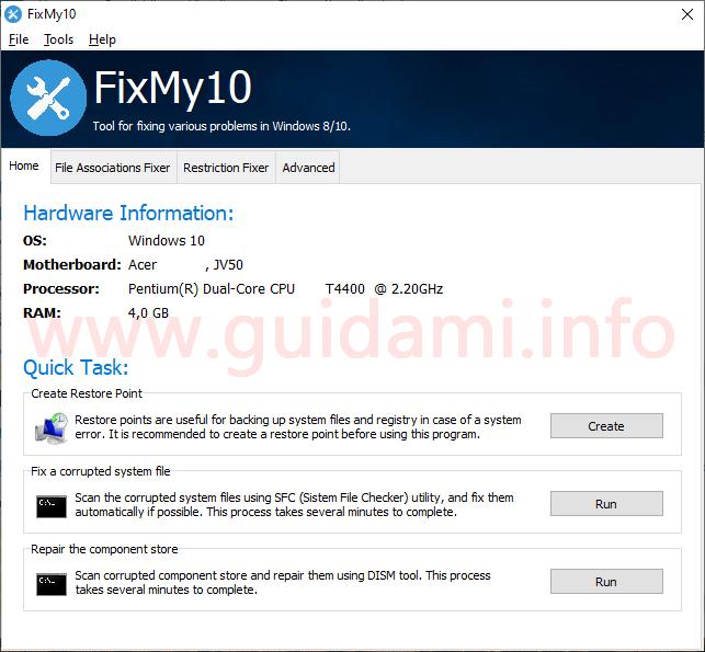 FixMy10 schermata iniziale del programma su scheda Home