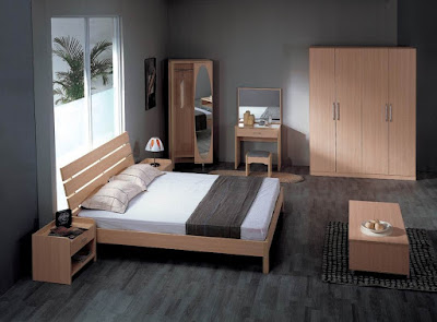 Dark Bedroom Layout with White Bed Wooden Furniture