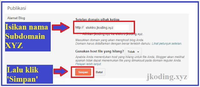 tahap 2 - menambahkan subdomain ke blogger