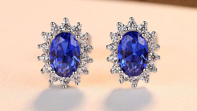 摩納哥王妃人造寶石 925純銀耳環