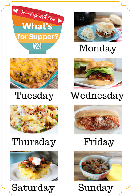 Featured recipes at What's for Supper Sunday include Deep Dish Taco Pizza, Crock Pot Pork BBQ, Crock Pot Meatball Subs, Ham and Cheese Tortellini, and more.