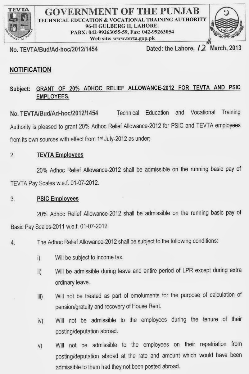 Notification of regularization of contract employees 1-14,15 &16 scale 2013 in punjab