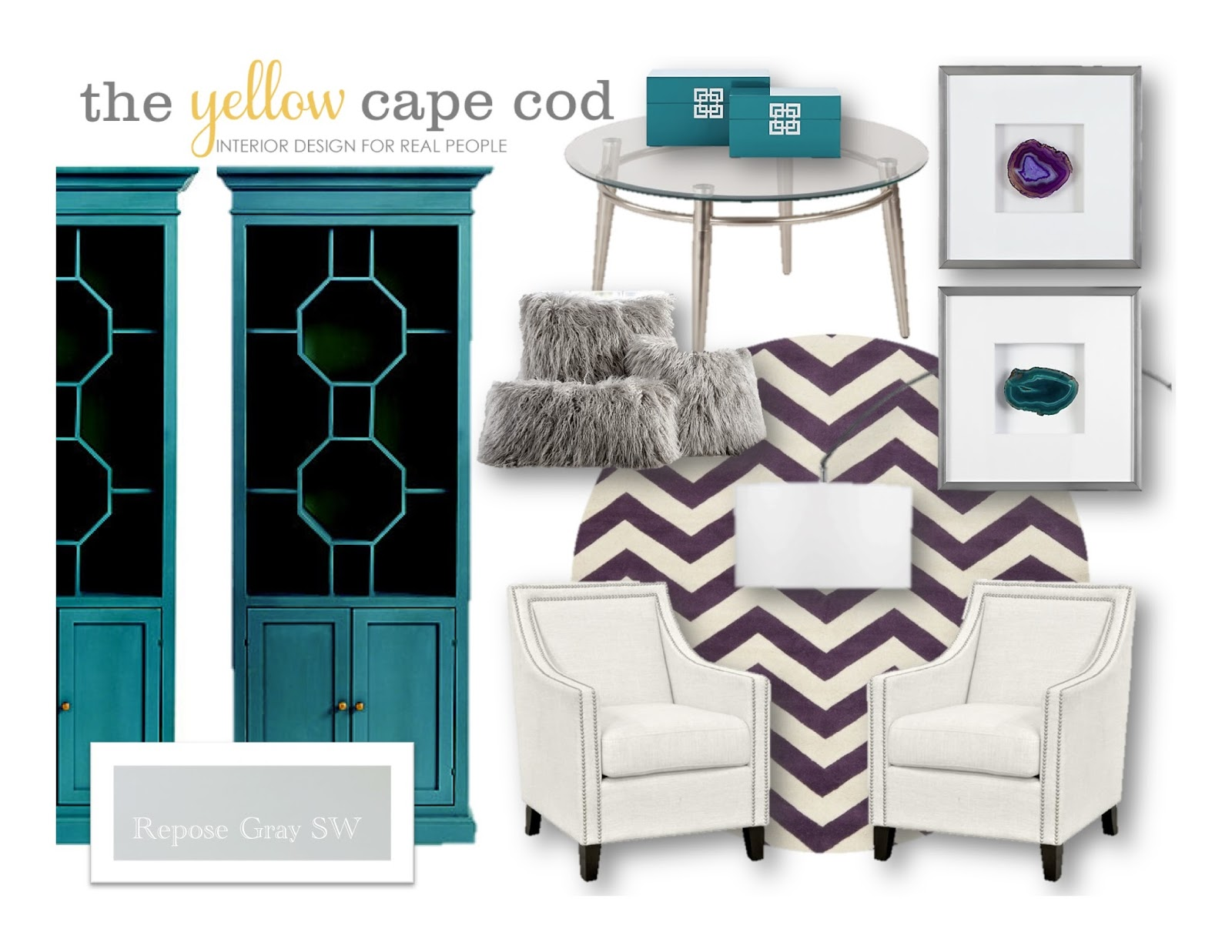 Teal, Purple And Gray Living Room And Dining Room Design Plan Part 59