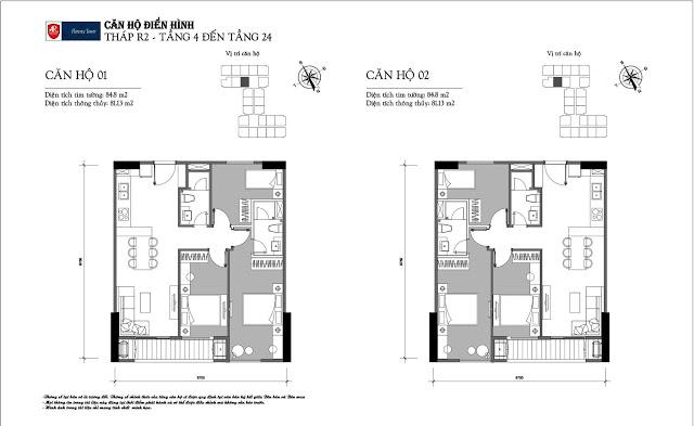 Thiết kế căn hộ 01-02 tòa R2